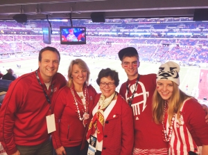 Photo with Chancellor Rebecca Blank at Indy Big10 Championship 2014